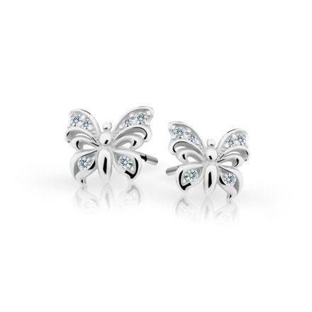 Baby Ohrringe Danfil Schmetterlinge C2226 Weißgold mit weißen Strasssteinen