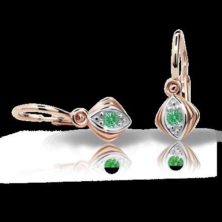 Babyohrringe Danfil C1897 Rosagold, Emerald Green, Die Brisur