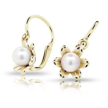 Babyohrringe Danfil C2239 Gelbgold, mit Perlen, Die Brisur