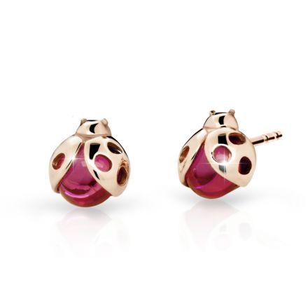 Kinder Ohrringe Danfil Lady C2008 Pink Gold mit Rubin Dunkle Strasssteine, Ballonfahren