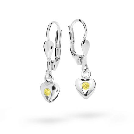 Mädchenohrringe Danfil C1556 Herzchen Weißgold, Yellow, Leverback